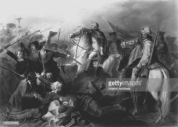 Lithograph depicting George Washington's first success at the siege of Boston wherein he forced the withdrawal of British troops March 1776...
