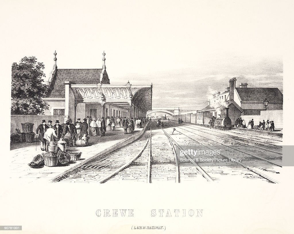 Lithograph drawn and lithographed by Arthur Fitzwilliam Tait showing passengers awaiting a train on Crewe Station on the London North Western Railway...