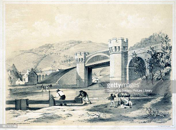 Lithograph drawn and lithographed by the Americanborn artist Arthur Fitzwilliam Tait showing the Gauxholme viaduct on the Manchester and Leeds...