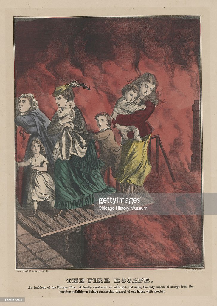 Lithograph featuring women with children escaping a burning building during the Great Chicago Fire by walking on a bridge connecting the roof of one...