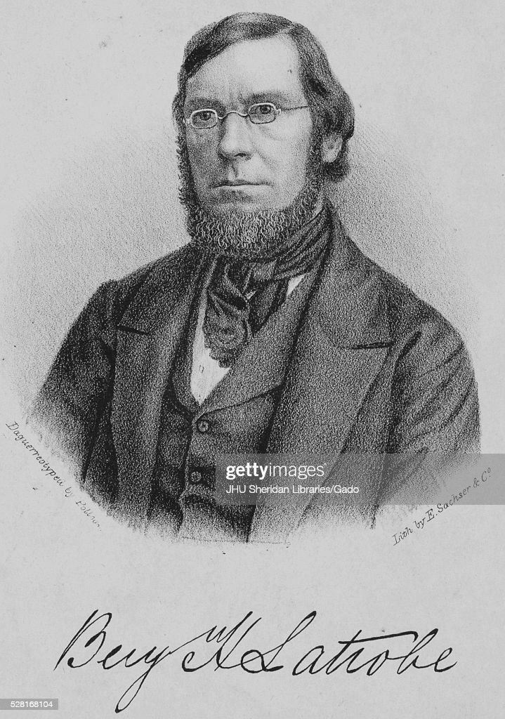 Lithograph from a daguerreotype portrait of Benjamin Henry Latrobe Jr American civil engineer and son of architect Benjamin Henry Latrobe 1856