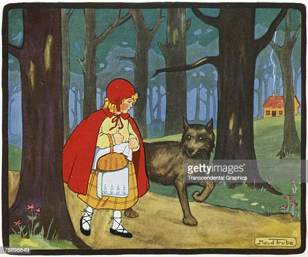 Lithograph illustration by artist Maud Trube depicts a scene from 'Little Red Riding Hood' in a collection of children's stories 1910s or 1920s