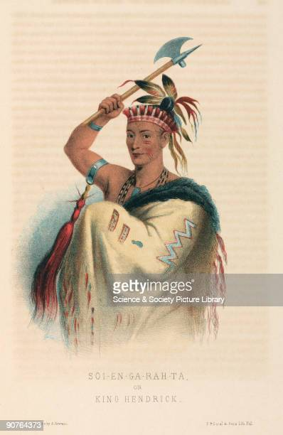Lithograph made in 1857 by A Newsam of the Native American chief also known as Thoyanoguen who was a Mohican by birth but was adopted by the Mohawk...