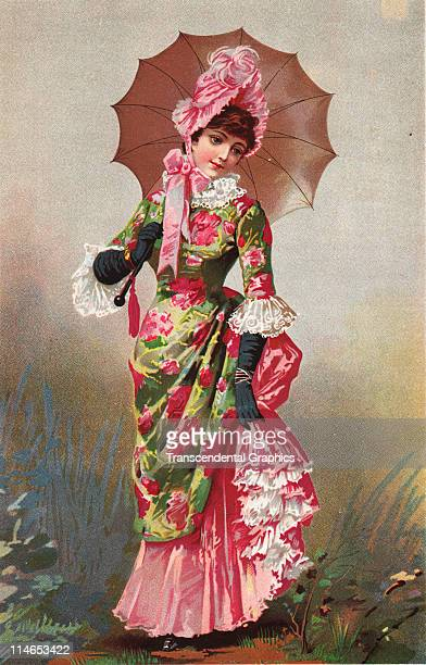 Lithograph of a Victorian women dressed in the finest clothing and accoutrements of the day c1880