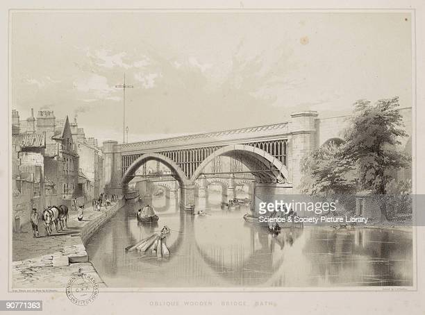 Lithograph of a wooden railway bridge in Bath Somerset by John Bourne Bourne is known for his illustrations of railways in the 1830s and 1840s...