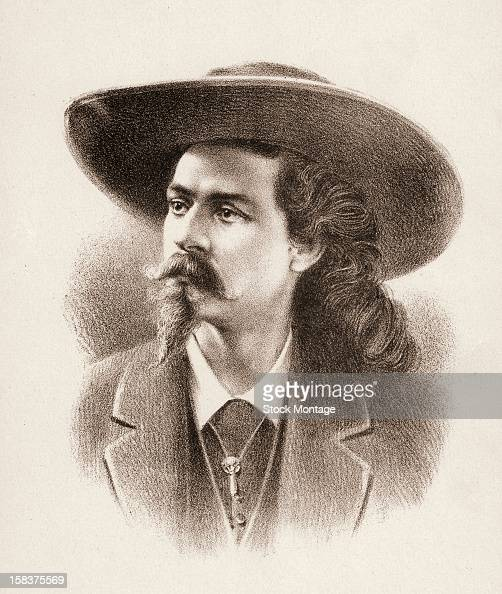 Lithograph portrait of American frontiersman and entertainer William F Cody better known as Buffalo Bill late 19th century