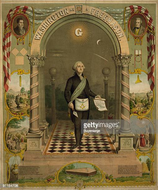Lithograph portrait of American President George Washington as in the ceremonial attire of the Freemasons surrounded by various masonic symbols...