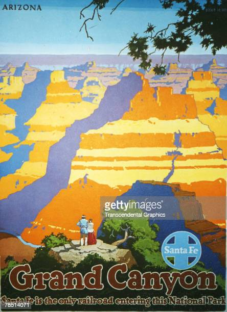Lithograph poster for the Santa Fe Railroad shows a couple as they gaze together down into the Grand Canyon accompanied by the text 'Santa Fe is the...