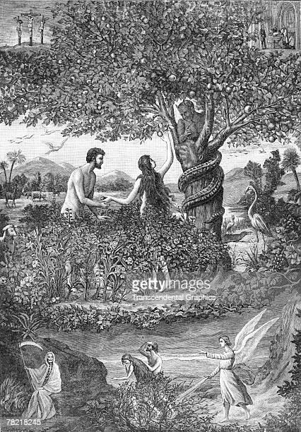 Lithograph printed by la Maison de la Bonne Presse depicts the biblical scene of Adam and Eve in the Garden of Eden late 1800s or early 1900s etc