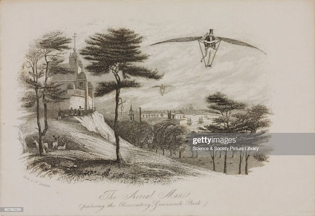Lithograph showing a winged flying machine designed by Joseph Degan in 1808 in a fictitious flight past the Royal Observatory Greenwich piloted by a...