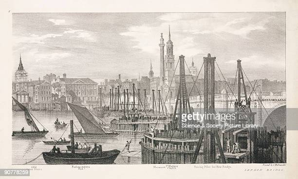 Lithograph showing the new London Bridge during construction with various distant landmarks identified including Old Swan Stairs Fishmongers Hall the...
