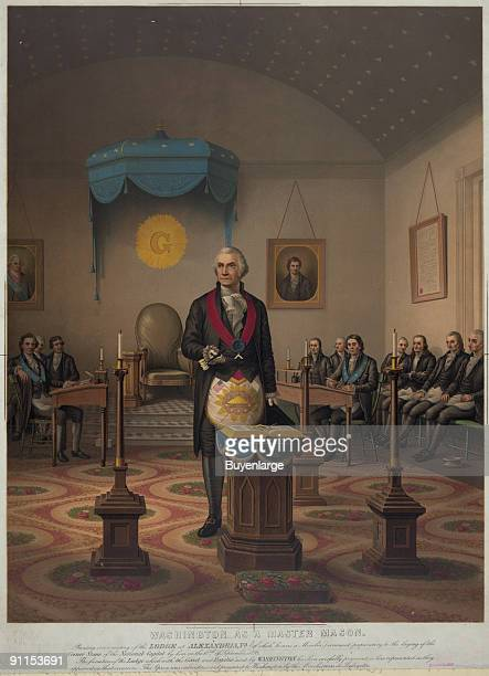 Lithograph shows American President George Washington as he presides over a meeting of Freemasons Alexandria Virgina September 18 1793 The lithograph...