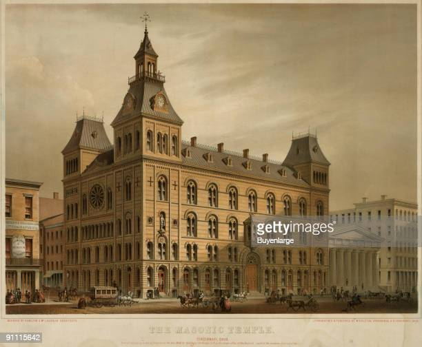 Lithograph shows the original Masonic Temple on Sycamore and 5th streets Cincinnati Ohio 1859 The building built by architects Hamilton McLaughlin...