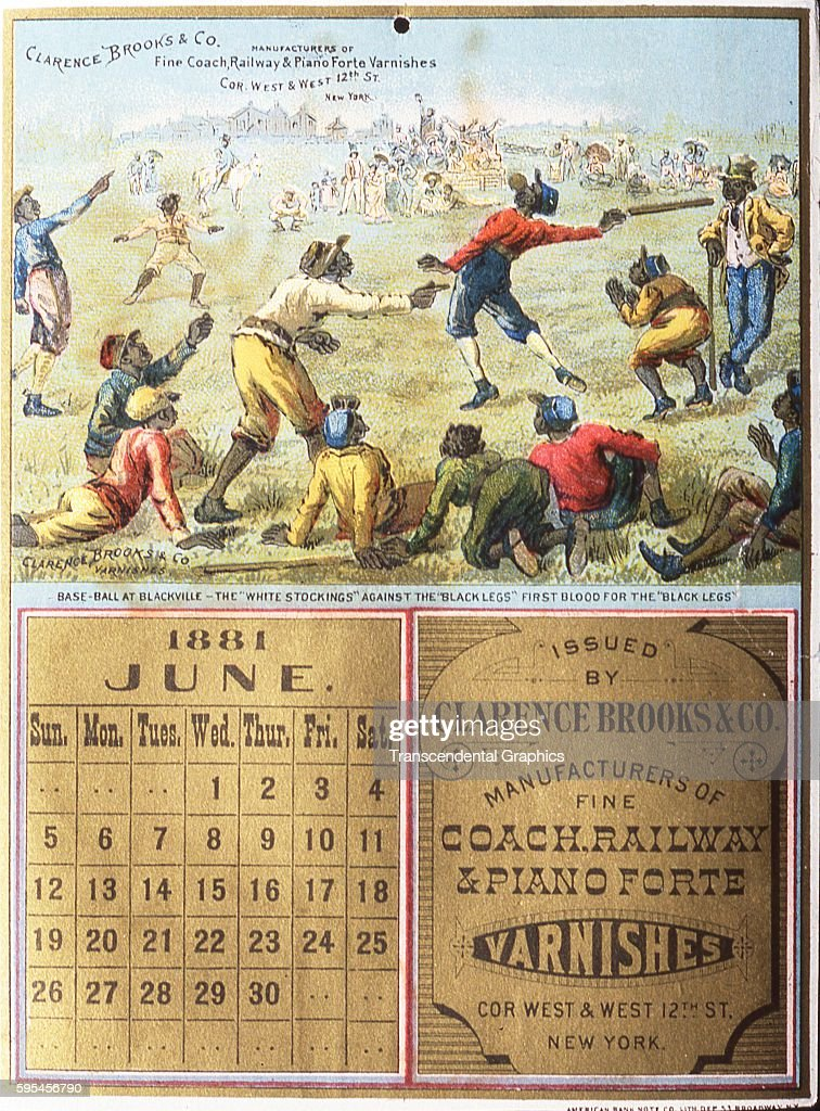 Lithographed advertising calendar featuring a baseball scene with black players New York New York June 1881