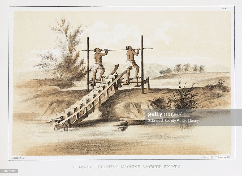 Lithographed plate by Ackerman after a drawing by J B Meffert showing a manpowered mechanism for drawing water uphill Commodore Matthew Calbraith...
