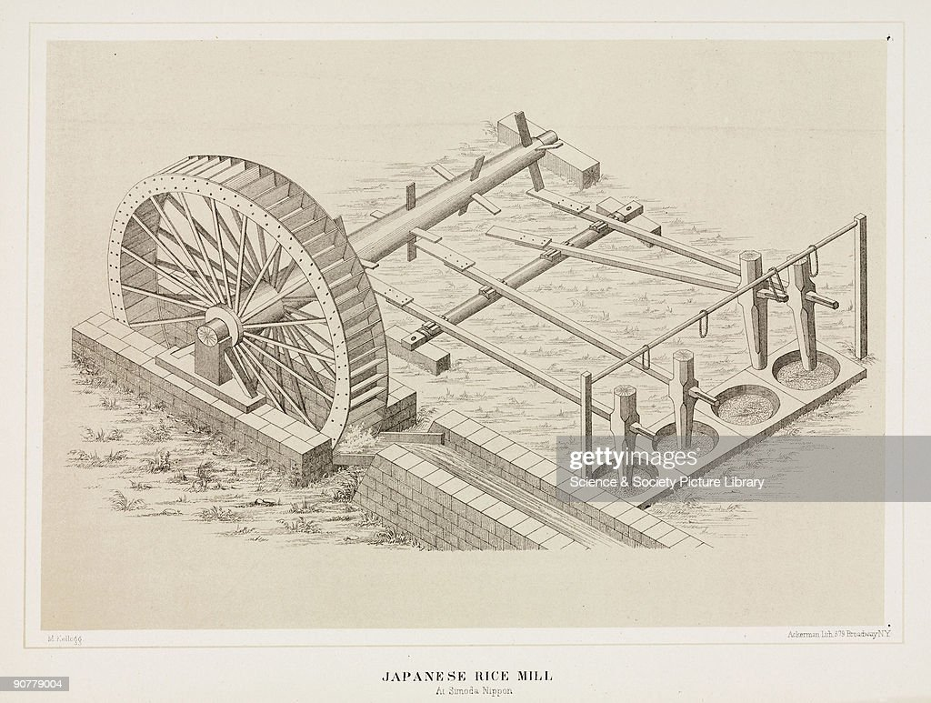 Lithographed plate by Ackerman after M Kellogg This water mill activates shafts with wooden mortars which pound the rice in the containers Commodore...