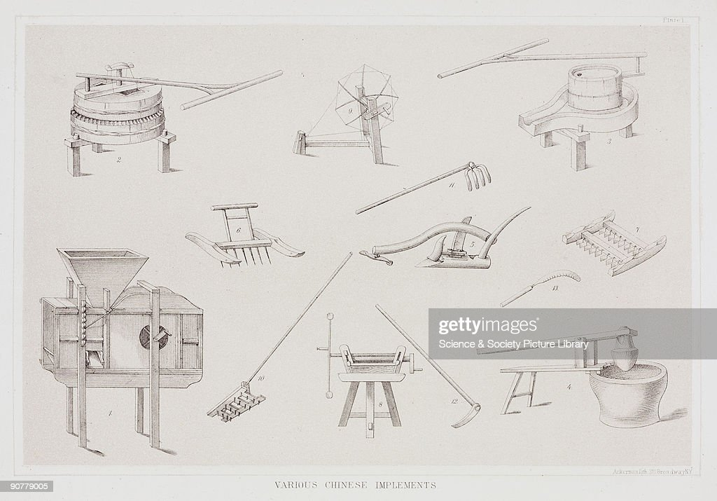 Lithographed plate by Ackerman showing tools and devices used in agricultural and domestic life in China during the 19th century Commodore Matthew...