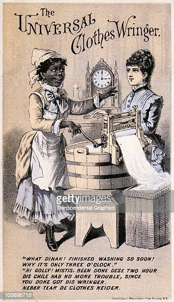 Lithographed trade card advertises the Universal Clothes Wringer with an illustration of a servant and mistresses as they discuss the product 1880...