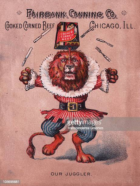 Lithographed trade card for Fairbank Canning Company�s Cook Corned Beef featured an illustration of a lion that balances a tin on a bone from its...
