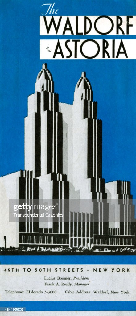 A lithographic advertising folder features stylized artwork of the Waldorf Astoria hotel and is published in New York CIty around 1930 The stylized...