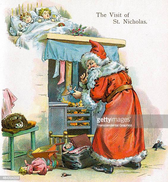 A lithographic book plate from one of McLoughlin's Christmas books shows Santa Claus by the chimney and was published in New York City in 1895...