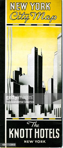 A lithographic folding map of Manhattan with sylized design of geometrical skyscrapers is printed in New York City around 1930 Sponsored by the Knott...