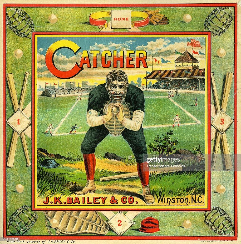 Lithographic label for Catcher Brand crate tobacco, San Francisco, California, circa 1940.