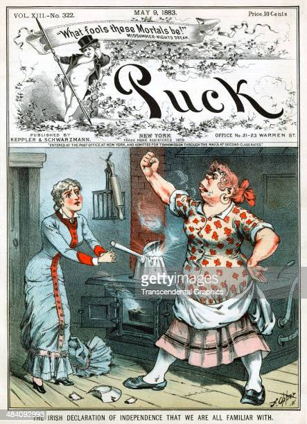 A lithographic political cartoon about Irish immigrants and their Amerian employers is placed on the cover of 'Puck' humor magazine published in New...