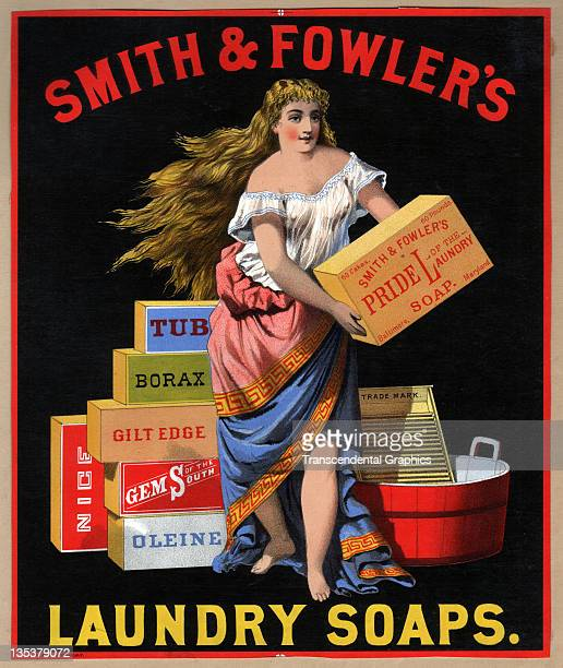 A lithographic poster for laundry soap by the Smith Fowler company features a woman with boxes of soap printed circa 1870 in an unknown location