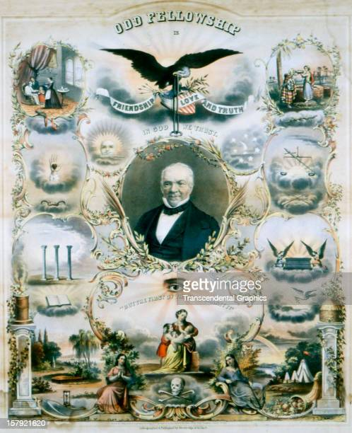 A lithographic print made for the Odd Fellows service organization was published by the Strobridge Litho Company in 1865 in Cincinnati Ohio