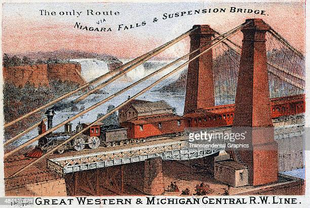 A lithographic trade card featuring a panorama of Niagara Falls and the new suspension bridge above it is published in Buffalo New York around 1880...