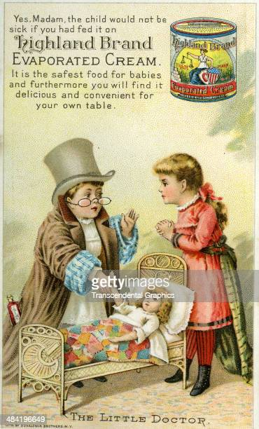 A lithographic trade card for evaporated cream features a boy and girl and a doll playing doctor and is issued in New York City around 1880 Boy wear...