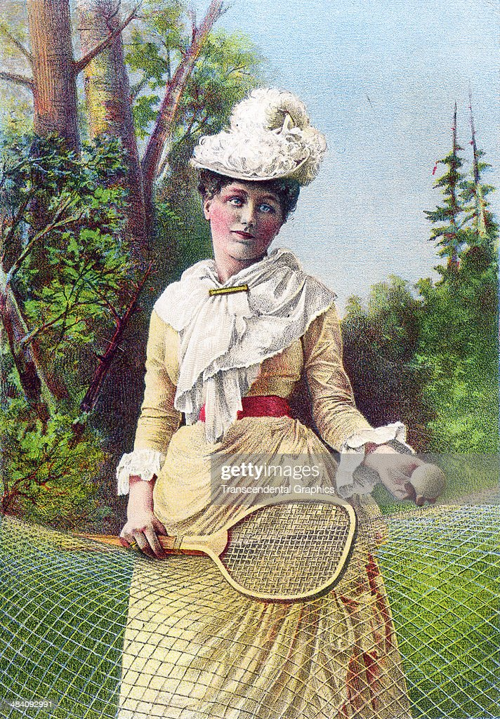 A lithographic trade card using a woman tennis player complete with her tennis dress, racket and ball for promotion, produced in New York City around 1880.