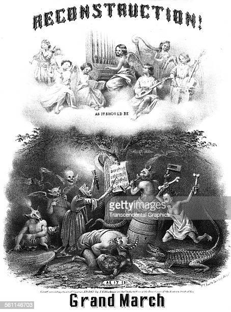 A lithographic Victorian sheet music cover cartoon illustrating the aftermath of the Civil War in the Southern United States New York New York 1867