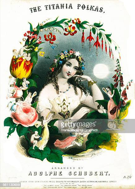 A lithographic Victorian sheet music cover illustrated with the Shakespeare character Titania and London England circa 1860