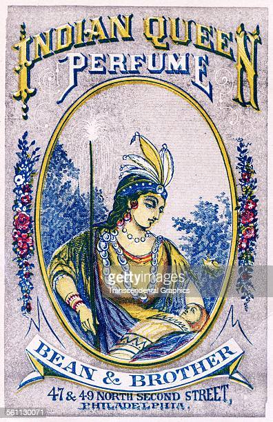 A lithographic Victorian trade card Indian Queen Perfume with the image of a Native woman Philadelphia Pennsylvania circa 1880