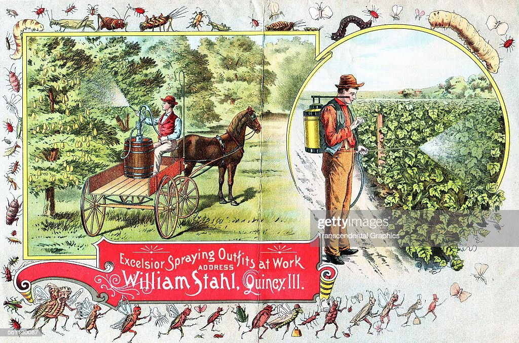 A lithographic Victorian trade card promoting agricultural equipment Quincy Illinois 1880