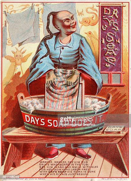 A lithographic Victorian trade card selling laundry soap with a racist Chinese theme Philadelphia Pennsylvania 1887