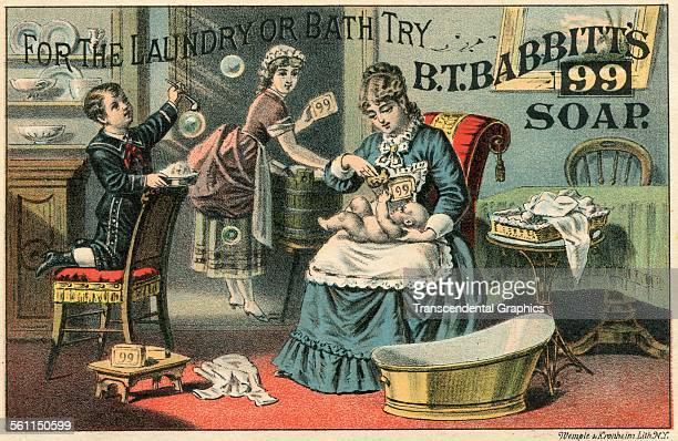 A lithographic Victorian trade card showing the multiple uses of Babbitt's soap New York New York circa 1860