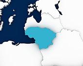 lithuania map 3D illustration