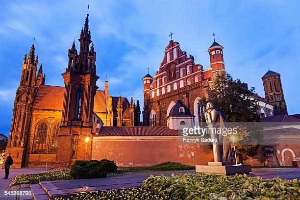 Lithuania, Vilnius, St. Ann and St. Bernardine Churches against evening sky