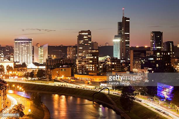 Lithuania, Vilnius, View of illuminated city at night