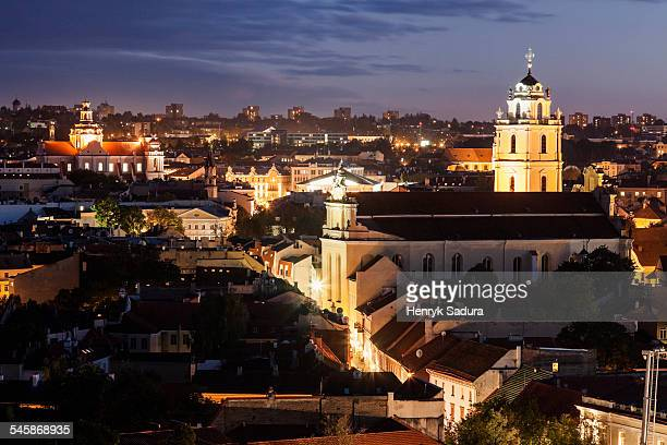 Lithuania, Vilnius, View of St Johns Church and old town