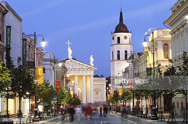 Lithuania, Vilnius, Vilnius Cathedral and bell tower by street, dusk