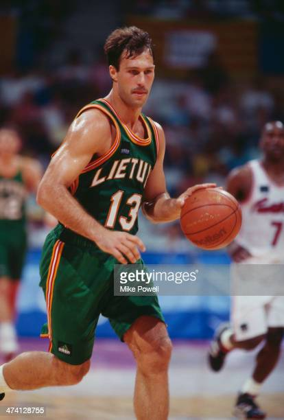 Lithuanian basketball player Sarunas Marciulionis playing for his national side against Puerto Rico at the Pavello Olimpic de Badalona during the...