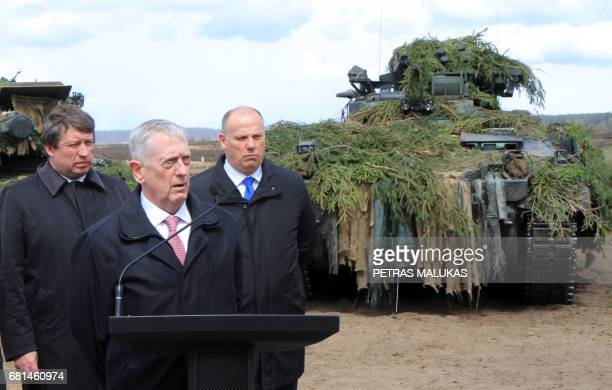 Lithuanian Defense Minister Raimundas Karoblis US Defense Secretary James Mattis and Latvian Defense Minister Raimonds Bergmanis are pictured after...