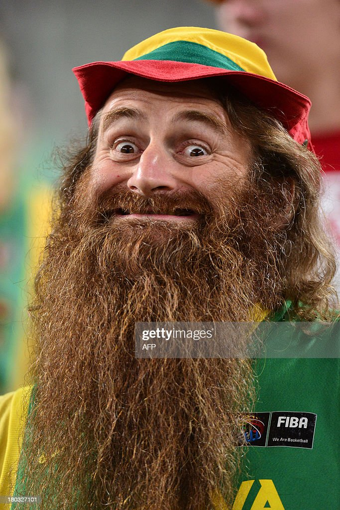 A Lithuanian fan poses during the European basketball championships second round match between Lithuania and France in Ljubljana, on September 11, 2013. AFP PHOTO / JURE MAKOVEC