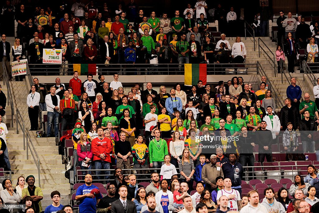 Lithuanian fans attend a game between the Toronto Raptors and Detroit Pistons on November 23, 2012 at The Palace of Auburn Hills in Auburn Hills, Michigan.