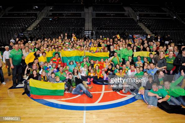 Lithuanian fans pose for a group photo following a game between the Toronto Raptors and Detroit Pistons on November 23 2012 at The Palace of Auburn...