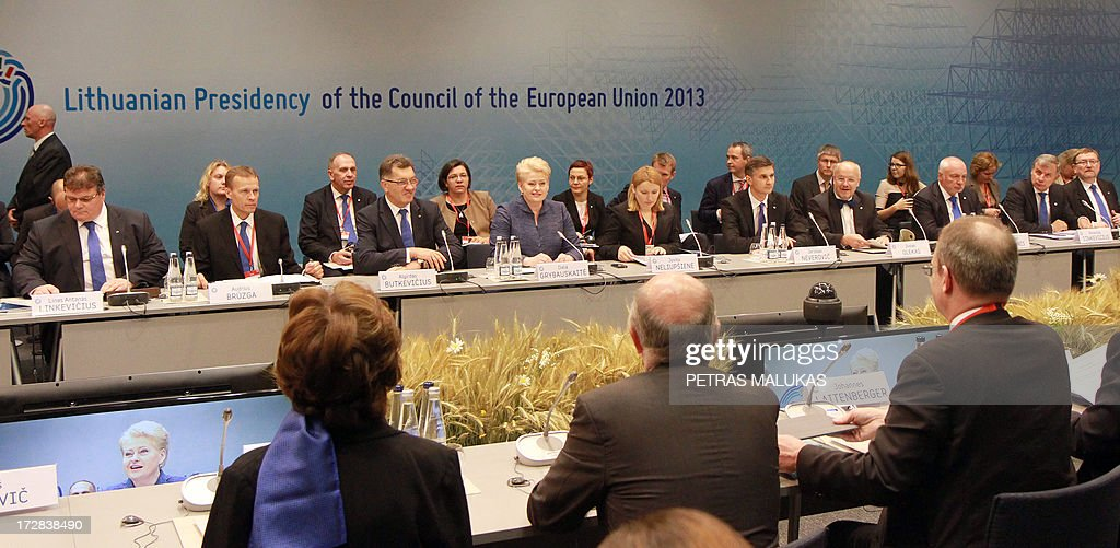 Lithuanian President Dalia Grybauskaite (C) addresses delegates during a plenary session of the European Commission on the occasion of a Presidency opening ceremony at the National Art Gallery in Vilnius on July 5, 2013. The small Baltic nation, the first to break free from the crumbling Soviet Union in 1990 before joining the EU in 2004, assumed the six-month rotating presidency of the European Union on July 1, 2013.
